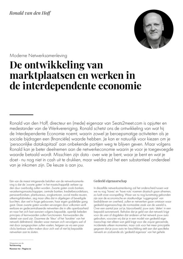 Werkvereniging Magazine 02 artikel Ronald van den Hoff